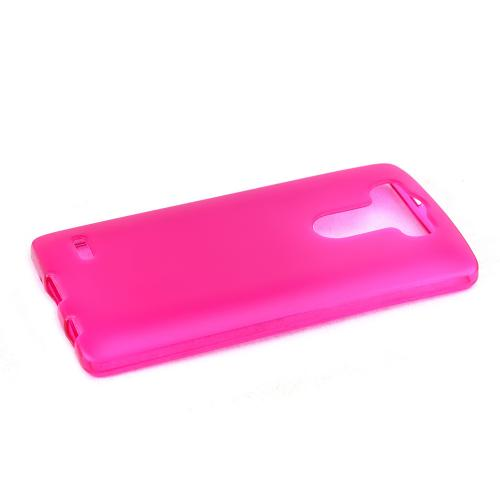 Hot Pink/ Frost LG G3 Mini Flexible Crystal Silicone TPU Case - Conforms To Your Phone Without Stretching Out!
