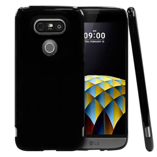 [LG G5] Case, [Black] Slim & Flexible Anti-shock Crystal Silicone Protective TPU Gel Skin Case Cover