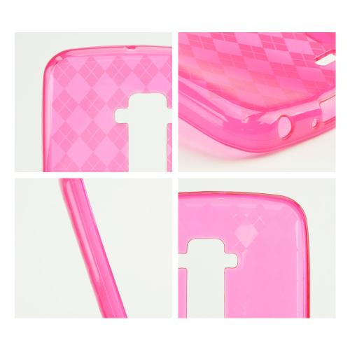 Hot Pink Argyle Crystal Silicone Skin TPU Skin Case for LG G Flex [AT&T, Sprint,T-Mobile]
