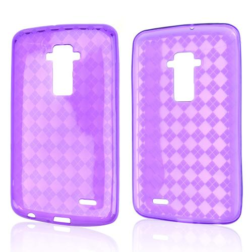 Purple Argyle Crystal Silicone Skin TPU Skin Case for LG G Flex [AT&T, Sprint,T-Mobile]