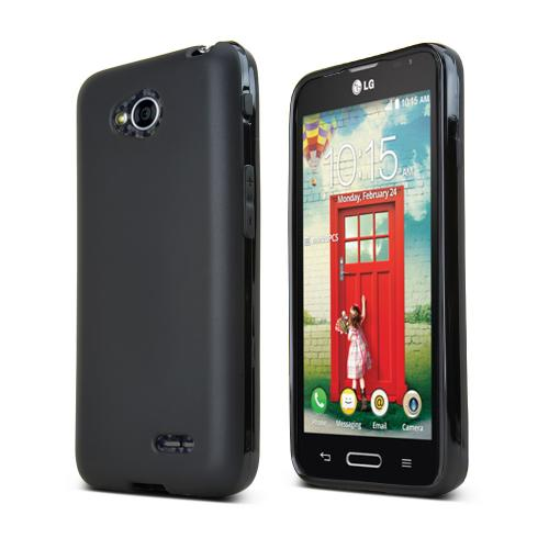 Black LG Optimus Exceed 2/ LG L70 Flexible Crystal Silicone Tpu Case - Conforms To Your Phone Without Stretching Out!