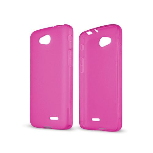 Hot Pink/ Frost LG L90 Flexible Crystal Silicone TPU Case - Conforms To Your Phone Without Stretching Out!