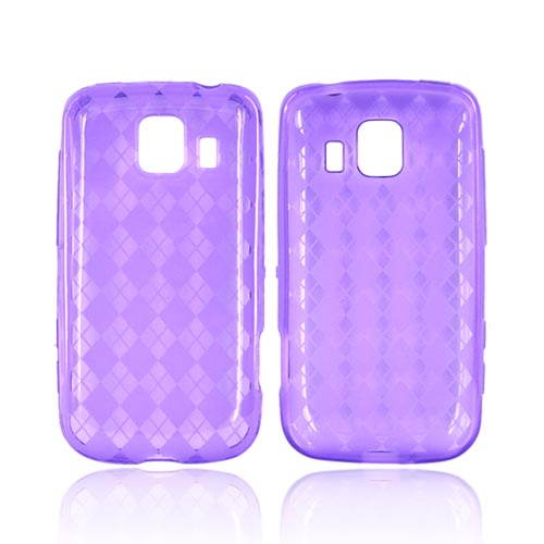 LG Optimus S LS670 Crystal Silicone Case - Purple Argyle