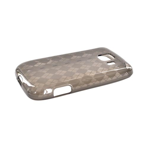 LG Optimus S LS670 Crystal Silicone Case - Argyle Print on Transparent Smoke
