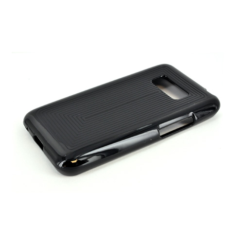 LG Optimus Elite Crystal Silicone Case - Black Line Design