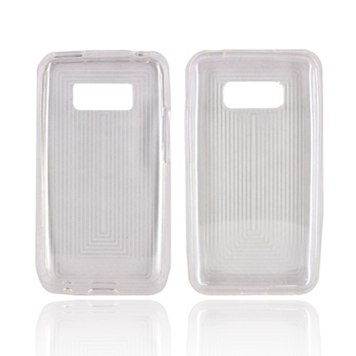 LG Optimus Elite Crystal Silicone Case - Clear Line Design