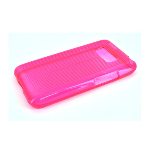LG Optimus Elite Crystal Silicone Case - Pink Line Design