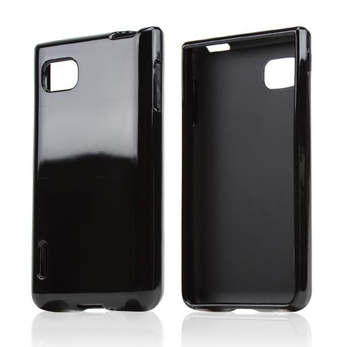 Black Crystal Silicone Skin Case for LG Optimus F3