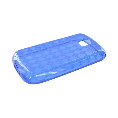 LG Optimus M MS690 Crystal Silicone Case - Argyle Blue