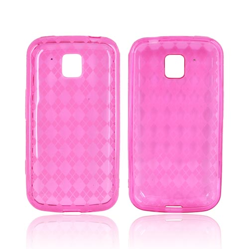 LG Optimus M MS690 Crystal Silicone Case - Argyle Hot Pink