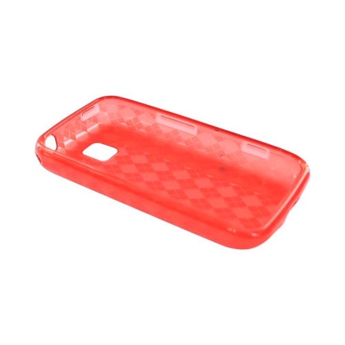 LG Optimus M MS690 Crystal Silicone Case - Argyle Red