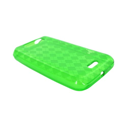 LG Viper 4G LTE/ LG Connect 4G Crystal Silicone Case - Argyle Green