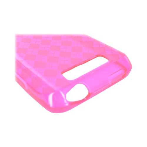 LG Viper 4G LTE/ LG Connect 4G Crystal Silicone Case - Argyle Hot Pink