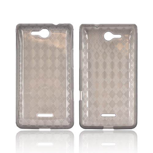 LG Viper 4G LTE/ LG Connect 4G Crystal Silicone Case - Argyle Smoke