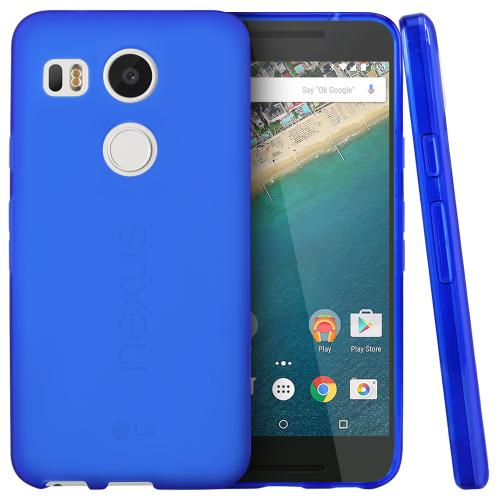 LG Google Nexus 5X Case, [Blue]  Slim & Flexible Anti-shock Crystal Silicone TPU Skin Protective Cover