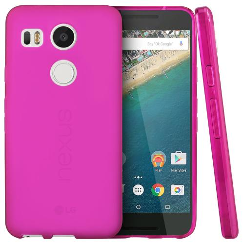 LG Google Nexus 5X Case, [Hot Pink]  Slim & Flexible Anti-shock Crystal Silicone TPU Skin Protective Cover