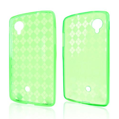 Argyle Neon Green Crystal Silicone Skin Case for LG Google Nexus 5