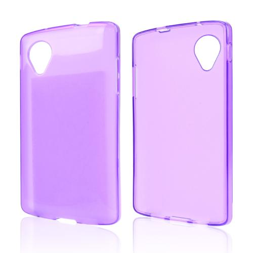 Purple/ Frost Crystal Silicone Skin Case for LG Google Nexus 5