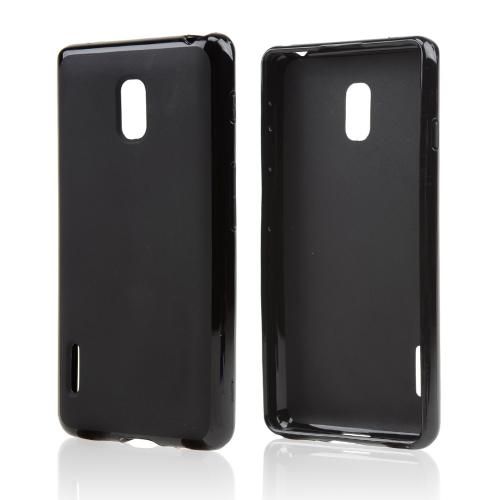 Black/ Matte Crystal Silicone Skin Case for LG Optimus F7
