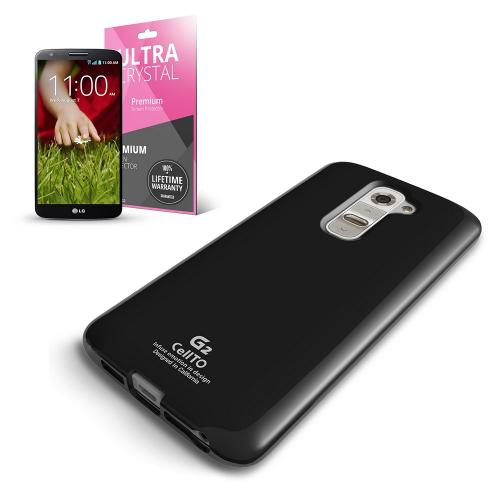 Black Anti-Slip TPU Crystal Silicone Skin Case & Free Screen Protector for LG G2 (AT&T/T-Mobile/Sprint)