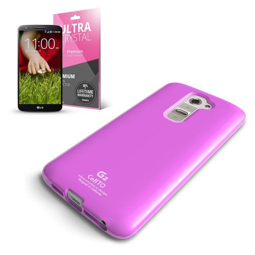 Baby Pink Anti-Slip TPU Crystal Silicone Skin Case & Free Screen Protector for LG G2 (AT&T/T-Mobile/Sprint)