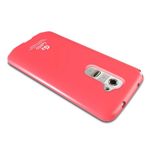 Hot Pink Anti-Slip TPU Crystal Silicone Skin Case & Free Screen Protector for LG G2
