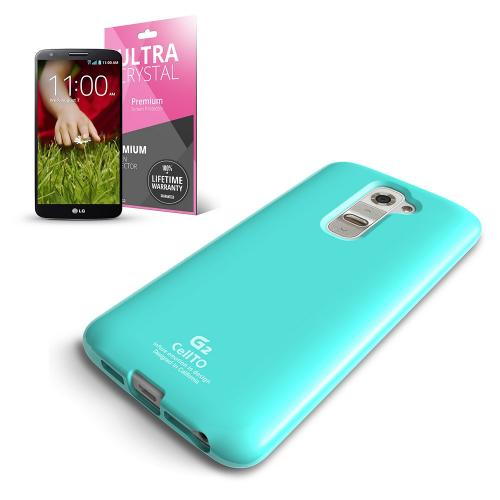 Mint Anti-Slip TPU Crystal Silicone Skin Case & Free Screen Protector for LG G2 (AT&T/T-Mobile/Sprint)