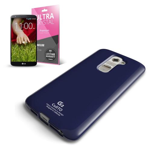 Navy Anti-Slip TPU Crystal Silicone Skin Case & Free Screen Protector for LG G2