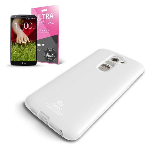 Solid White  Anti-Slip TPU Crystal Silicone Skin Case & Free Screen Protector for LG G2