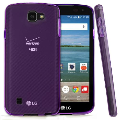 LG Optimus Zone 3 Case, REDShield [Purple] Slim & Flexible Anti-shock Crystal Silicone Protective TPU Gel Skin Case Cover