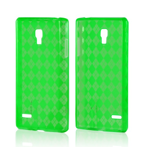 Argyle Neon Green Crystal Silicone Case for LG Optimus L9