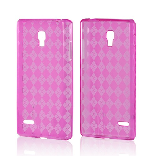 Argyle Hot Pink Crystal Silicone Case for LG Optimus L9