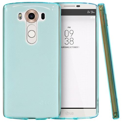 LG V10 Case, [Aqua Blue] Slim & Flexible Anti-shock Crystal Silicone TPU Skin Protective Cover