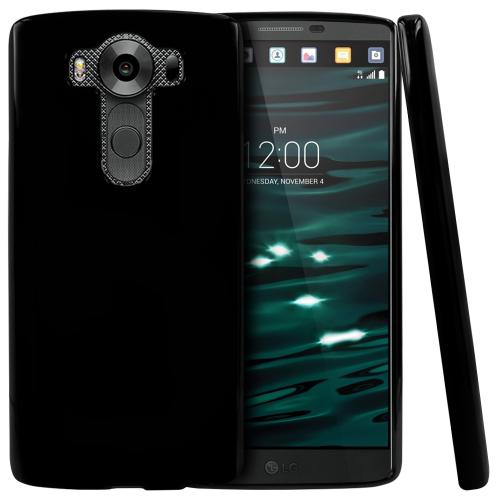 LG V10 Case,  [Black]  Slim & Flexible Anti-shock Crystal Silicone Protective TPU Gel Skin Case Cover