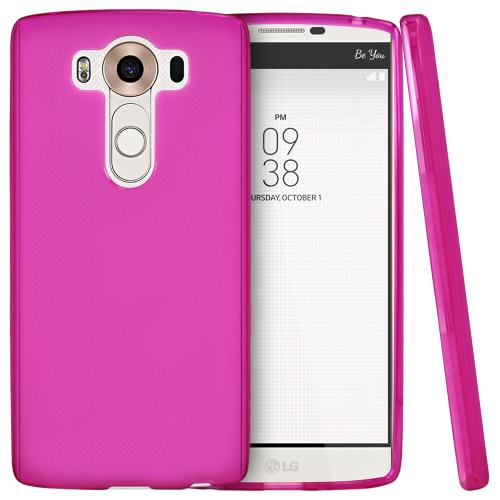 LG V10 Case, [Hot Pink] Slim & Flexible Crystal Silicone TPU Protective Case