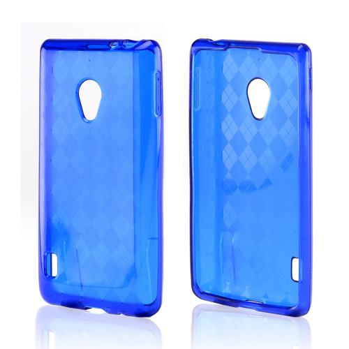 Argyle Blue Crystal Silicone Case for LG Lucid 2