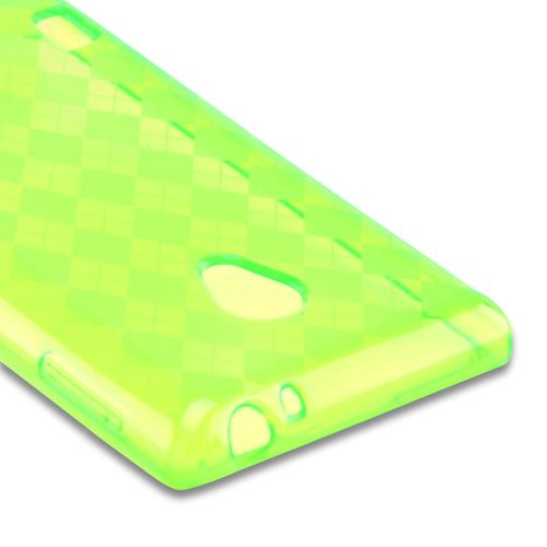 Argyle Neon Green Crystal Silicone Case for LG Lucid 2