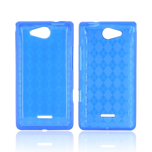 LG Lucid VS840 Crystal Silicone Case - Argyle Blue