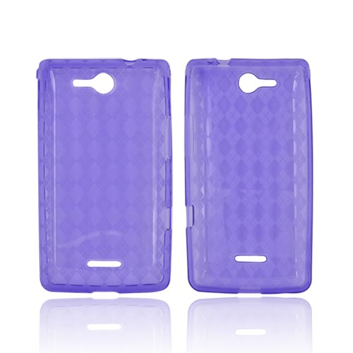 LG Lucid VS840 Crystal Silicone Case - Argyle Purple