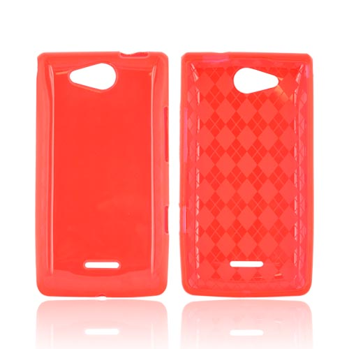 LG Lucid VS840 Crystal Silicone Case - Argyle Red