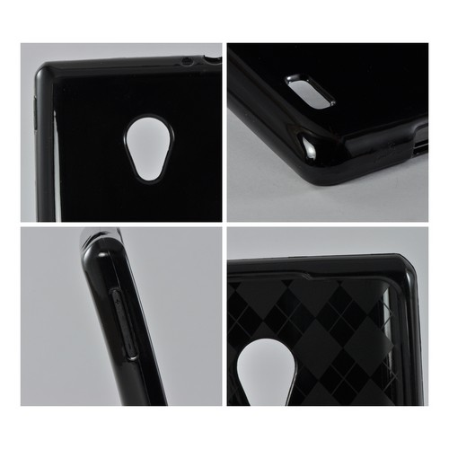 Black (Argyle Interior) Crystal Silicone Case for LG Spirit 4G