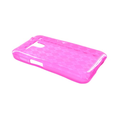 LG Revolution, LG Esteem Crystal Silicone Case - Argyle Hot Pink