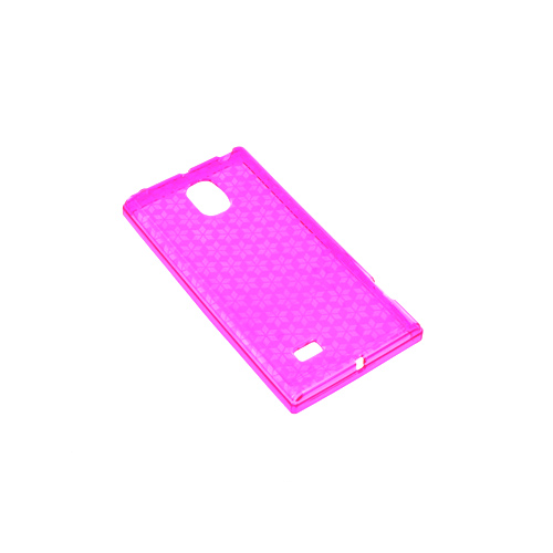 LG Optimus VS930 (Optimus LTE II) Crystal Silicone Case - Pink Hex Star