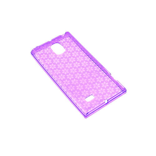 LG Optimus VS930 (Optimus LTE II) Crystal Silicone Case - Purple Hex Star