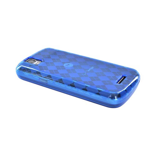 Motorola Droid Pro A957 Crystal Silicone Case - Argyle Design on Blue