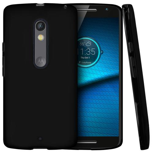 Motorola Droid Maxx 2 Case,  [Black]  Slim & Flexible Anti-shock Crystal Silicone Protective TPU Gel Skin Case Cover