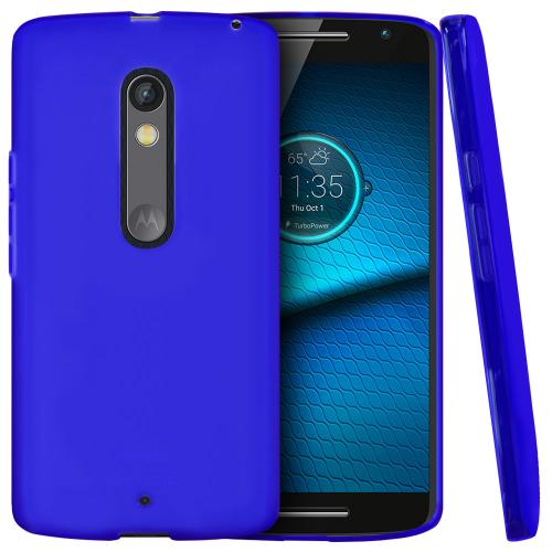 Motorola Droid Maxx 2 Case,  [Blue]  Slim & Flexible Anti-shock Crystal Silicone Protective TPU Gel Skin Case Cover