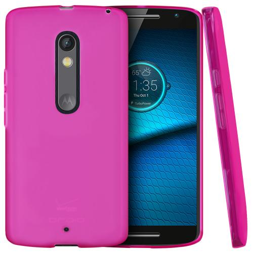 [Motorola Droid Maxx 2] Case,  [Hot Pink]  Slim & Flexible Anti-shock Crystal Silicone Protective TPU Gel Skin Case Cover
