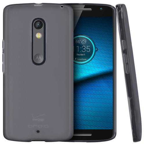 [Motorola Droid Maxx 2] Case,  [Smoke]  Slim & Flexible Anti-shock Crystal Silicone Protective TPU Gel Skin Case Cover
