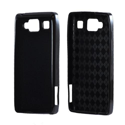 Motorola Droid RAZR MAXX HD Crystal Silicone Case - Black (Argyle Interior)